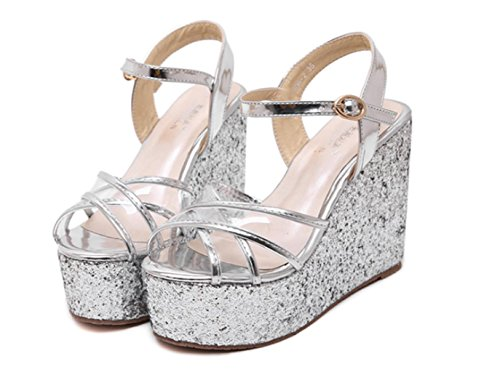 Straps HETAO Gold Sandals Wedding Shiny Slope Girl's Hollow Banquet Fashion With High Party Gift Silver Ladies Silver Heels Personality rqH6rwX