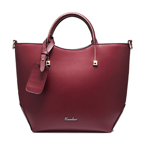 Realer - Bolso al Hombro para Mujer Vino Rojo Bolsos Bandolera de Mano Moda Bolsa rojo vino