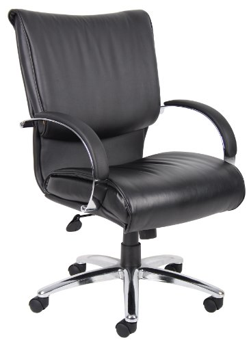 Boss Office Products B9707 Mid Back LeatherPlus Executive Chair with Knee Tilt in Black by Boss Office Products