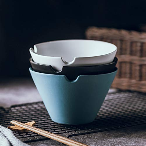 - Snack Dip Bowls Dishware Creative Scrub Ceramic Bowl Instant Noodles Bowl Household Tableware Cone Salad Bowl Soup Bowl kitchen (Color : Blue)