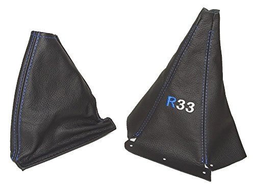 The Tuning-Shop Ltd For Nissan Skyline R33 1993-1998 Gear & Handbrake Gaiter Black Leather Blue R33 Logo Embroidery