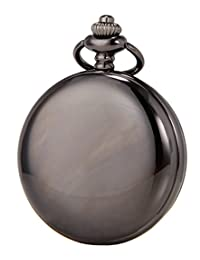 SEWOR Mens Vintage Smooth Case Classic Pocket Watch With Brand Leather Gift Box (Black)