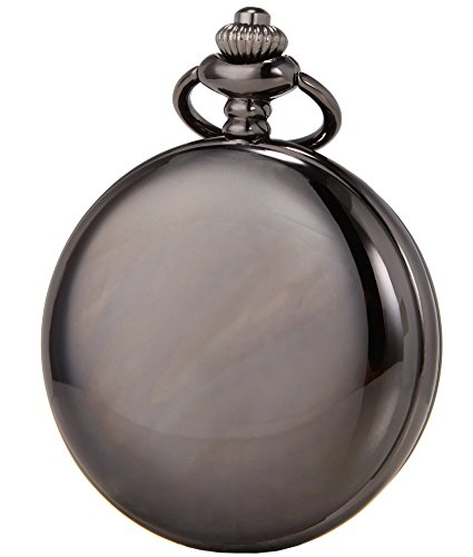 SEWOR Vintage Smooth Face Pocket Watch Classic Gift with Brand Leather Box (Black)