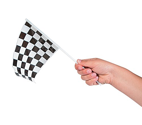Adorox 72Pcs Black and White Checkered Speed Race Flags Stock Car Racing Theme Party Favor Decoration (6 Dozen)]()