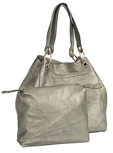 Shoulder Designer Style Two Womens Shop Bucket One Tote Gun Metal Large in Shopper Handbag Big Bag 7wq0AA