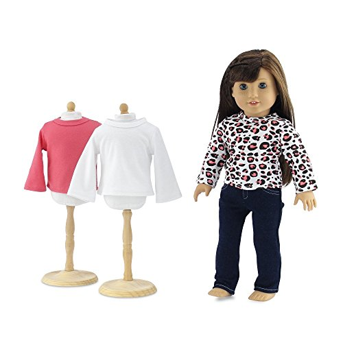 18 Inch Doll Clothes | Blue Stretch Skinny Jeans with 3 Soft, Long Sleeved T-Shirts Basics Value Outfit | Fits American Girl Dolls (Basic Doll)