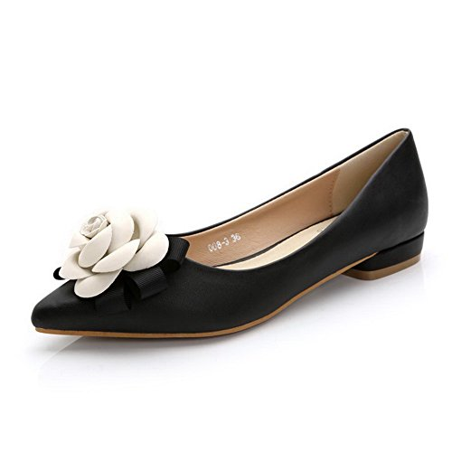 Aalardom Womens Mjukt Material Pekade-toe Låga Klackar Pådrag Pumpar-shoes Svarta