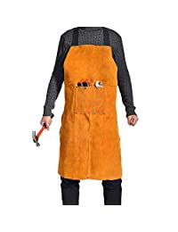 """Leather Welding Apron - Heat & Flame Resistant Heavy Duty Work Bib Apron with Pockets and Adjustable Cross Back Straps for Men & Women,24"""" W x 36"""" L"""