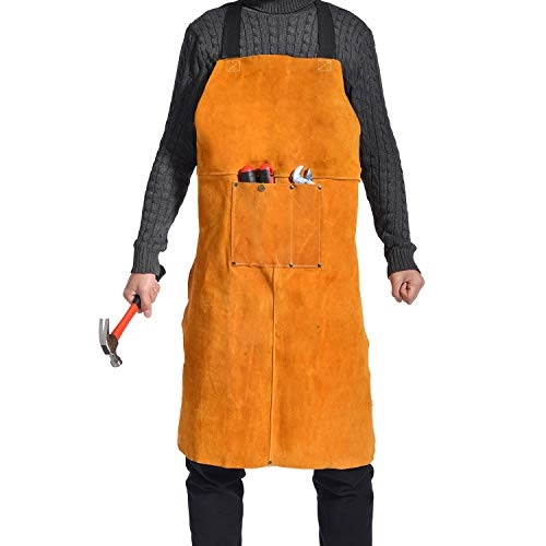 "Leather Welding Apron for Men - Heat Flame Resistant Heavy Duty Work Bib Apron with Pockets and Adjustable Cross Back Straps,24"" W x 36"" L"