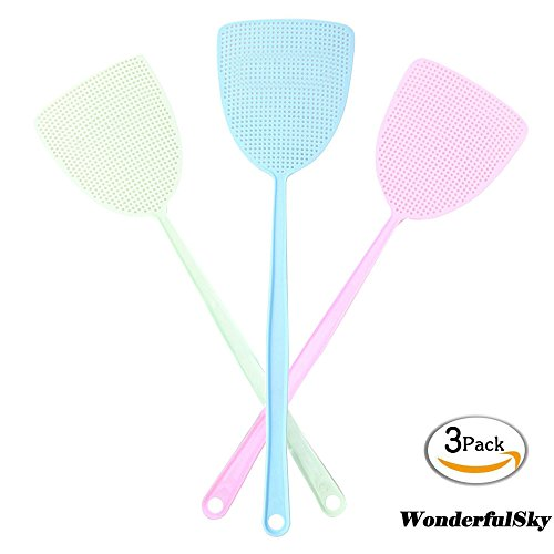Fly Swatter, Wonderfulsky 3-pack Manual Swat Pest Control- Long Plastic Handle ( 18 inch ) Hand Swatters for Flies - Easy for Kids to Use by WonderfulSky