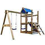 Festnight- Outdoor Playhouse Set with Ladder Slide and Swings Garden Wooden Playground Set 400x226x245 cm