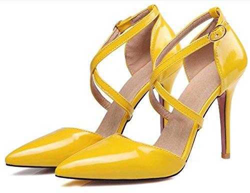 CSDM DONNE grandi stilo a forma di tacco puntato piede scarpe da sposa scarpe da sposa alto tacchi Sandalss giallo bianco rosa nudo nero , yellow , 41 custom 2-4 days do not return