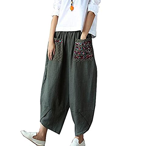 Sllybo Women Wide Leg Pants Patchwork Cotton Linen Trousers Baggy Loose with Big Pockets (US 8-16, Green)