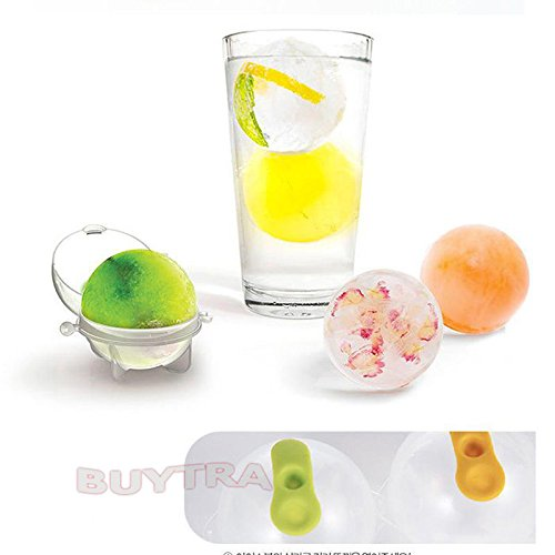 ensunpal store HOT SALE 4pcs Ice Ball Mould Party Bar Plastic Ice Cube Tray Round Mold Drink