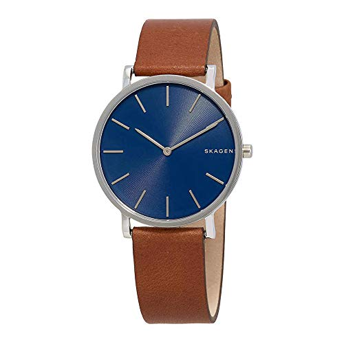 - Skagen Men's Hagen Stainless Steel Japanese-Quartz Watch with Leather Calfskin Strap, Brown, 18 (Model: SKW6446)