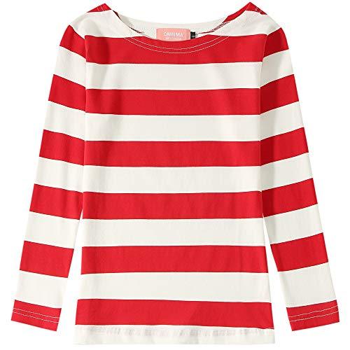 Camii Mia Big Girl's Classic Long Sleeve Cotton Stripe Tee T-Shirt (Medium(10-12), Red White)