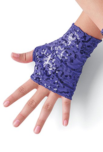 Balera Costume Fingerless Gloves Sequin Spandex Grape (Jazz Costumes For Recitals)