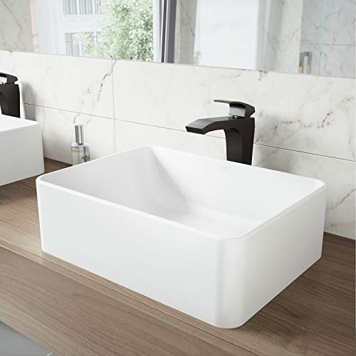 VIGO Caladesi Matte Stone Vessel Bathroom Sink and Blackstonian Vessel Faucet with Pop Up, Matte Black