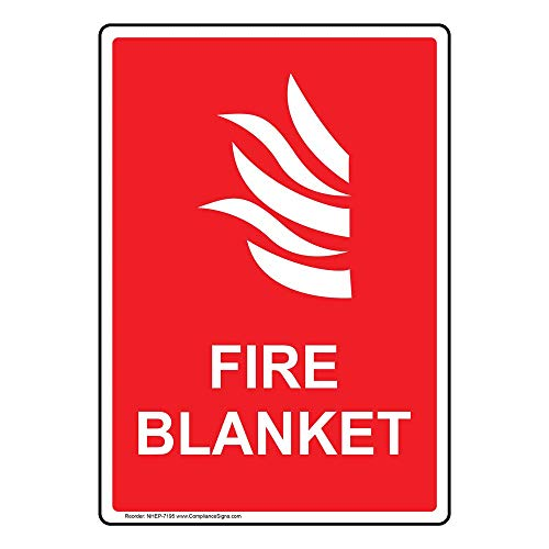 Fire Blanket Sign, 10x7 inch Aluminum for Fire Safety/Equipment by ComplianceSigns
