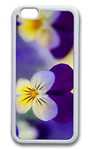 MOKSHOP Unique pansies flowers Soft Case Protective Shell Cell Phone Cover For Apple Iphone 6 (4.7 Inch) - TPU White