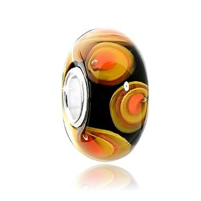 European Bead 925 Silber Glas Rosa-Rot NEU 143