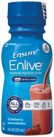 Count of 24 Ensure Enlive Strawberry Oral supplement 8 oz Bottle by Ensure