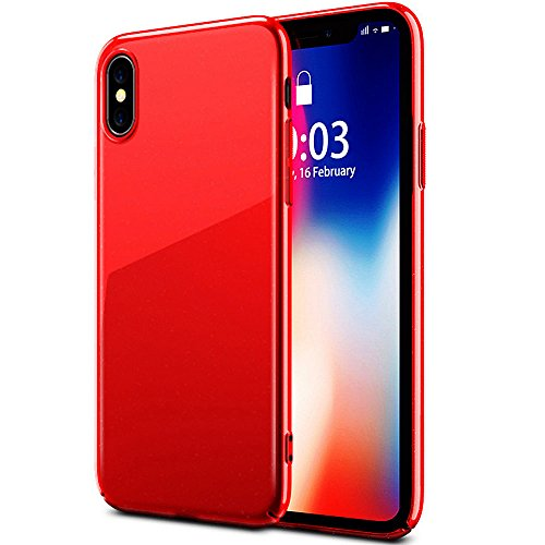 iPhone X Piano Lacquer Case, ACMBO Bright Hard PC Ultra Thin Slim Case Anti-Scratches no-fade Glossy Coating Protective Cover Case for apple iPhone X/iPhone 10 5.8 inch, Ruby red