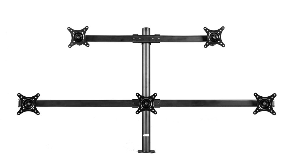 MonMount Curved Penta Monitor Mount Stand Clamp Style Up to 24-Inch Screens, Black (Curve-F-Clamp-B)