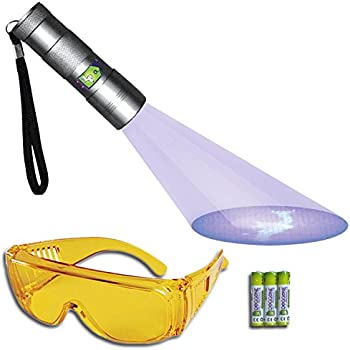 UV Flashlight Pet Urine Detector by Doggone Pet Products - Blacklight Finds Dry Dog & Cat Stains on Carpets, Hard Floors & Paint. Alkaline Batteries Included With 12 LED Ultra Violet Blacklight