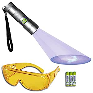 Doggone Pet Products UV Flashlight Pet Urine Detector Blacklight Finds Dry Dog & Cat Stains on Carpets, Hard Floors & Paint. Alkaline Batteries Included With 12 LED Ultra Violet Blacklight
