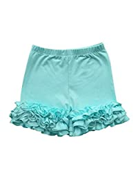 FidgetFidget Shorts Girls Toddler's Solid Layered Double Ruffle Bottoms Pants Boutique Icing