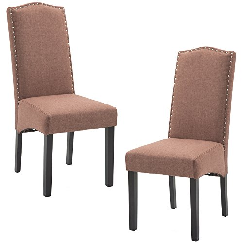 ZXBSWELE Set of 2 Solid Wood Parsons Chair with Nailhead Trim for Dining Room, Living Room, Brown