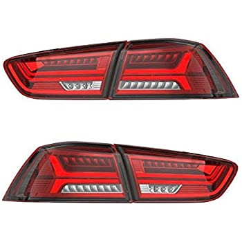 AOEDI LED Tail Lights For Mitsubishi Lancer/EVO X 2008 2017 Audi Style Red  Lens Replacement
