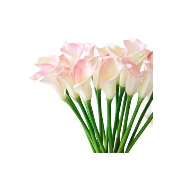 Meide Group USA 25″ Large Handmade Real Touch Latex Calla Lilly Artificial Spring Flowers for Arrangements, Bouquets, Weddings, and centerpieces (Pack of 5) (Pink and White)