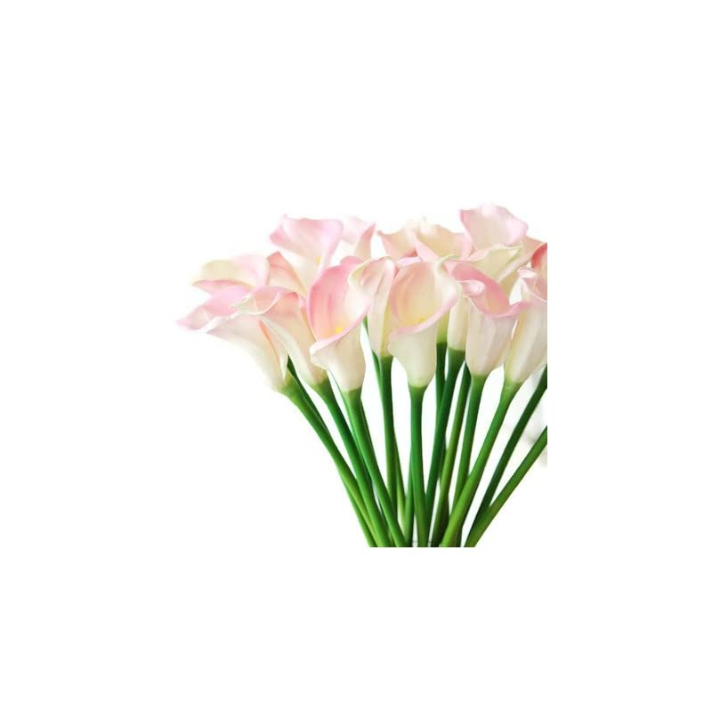 """silk flower arrangements meide group usa 25"""" large handmade real touch latex calla lilly artificial spring flowers for arrangements, bouquets, weddings, and centerpieces (pack of 5) (pink and white)"""
