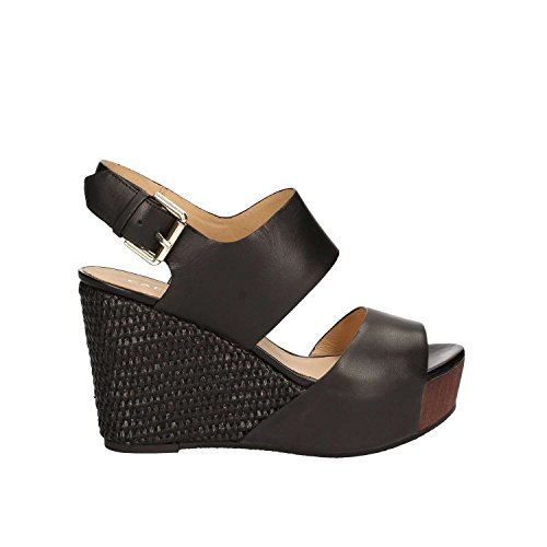 CAF NOIR HD122 black wedge sandals women leather buckle straps Nero eyFEpSTKtR