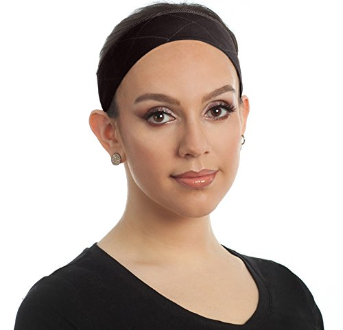 Premium Wig Grip Headband, Bundle with Free Comb - Adjustable Comfort Head Hair Band for Women - Velvet Material - Non Slip, Keeps Wig Secured - Prevents Headaches & Hair Loss (Brown)
