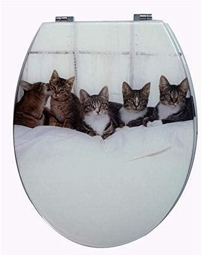 CXMWYトイレのふた Vのための調節可能なヒンジクイックリリーストップ固定便座カバー肥厚バスルームの蓋付き便座子猫のトイレの蓋/U/Oユニバーサルシェイプトイレ、白