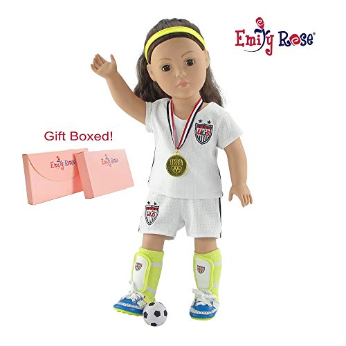 18 Inch Doll Clothes for American Girl Dolls | USA 8 Piece Doll Soccer Uniform, Including Gold Medal and Loads of Doll Accessories! | Gift Boxed! | Fits 18