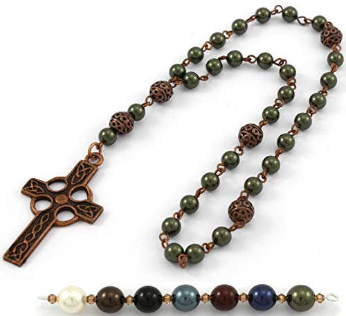 Anglican Prayer Beads with Dark Green Swarovski Pearls and Celtic Cross in Antique Copper. Anglican Rosary, Pearl Prayer Beads, Custom Rosary