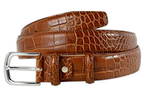 PASQUALE CUTARELLI Mens Crocodile Pattern Italian Leather Belt