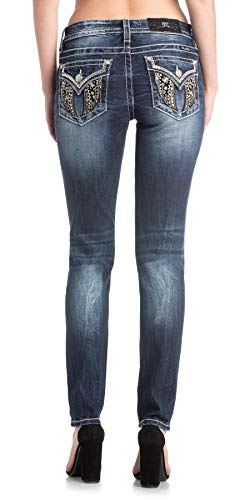 Miss Me Velvet Wing Skinny Jeans in Denim Blue Denim Blue 30