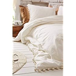 "White Pom Pom Fringed Cotton Cover Full Queen, 86""x90"""