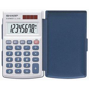 Sharp Taschenrechner EL-243 S 8-stellig Batterie/Solar-Betrieb weiß/dunkelblau