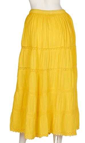 Gypsy Kaftan - JOTW Indian Long Skirts with Solid Embroidered Design (Lad- #151) (Yellow)