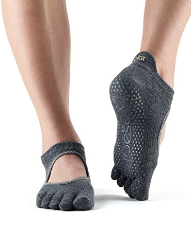 Toesox Full Toe Bellarina Yoga Socks, Unisex Adult Grey (Charcoal Grey)