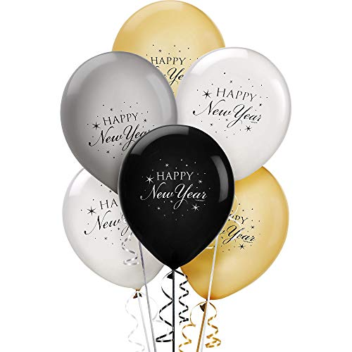New Year Latex Balloons, 15 Ct. | Assorted Colors | Party Decoration ()
