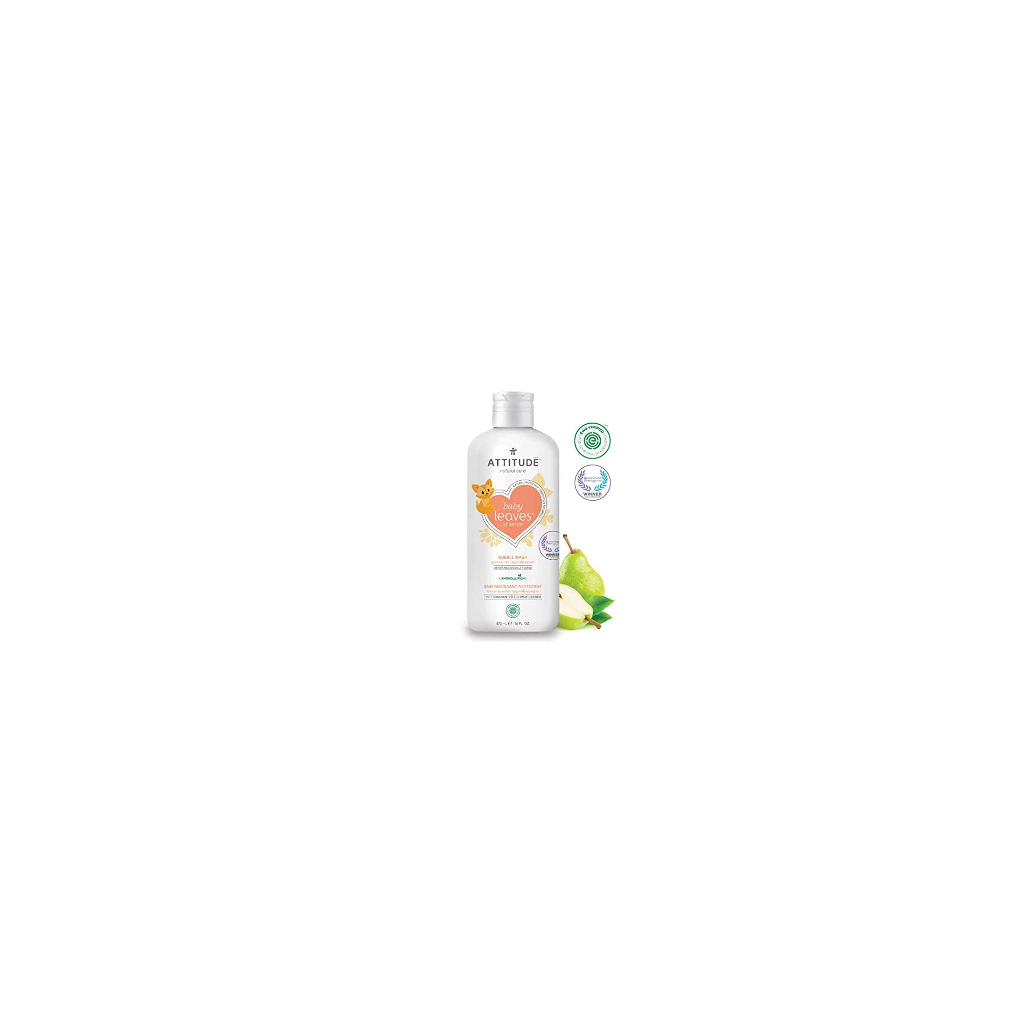 ATTITUDE Natural Baby Bubble Wash for Sensitive Skin, EWG Verified, Non-Toxic Hypoallergenic Gentle Eco-Friendly Formula, Pear Nectar, 16 Fl Oz