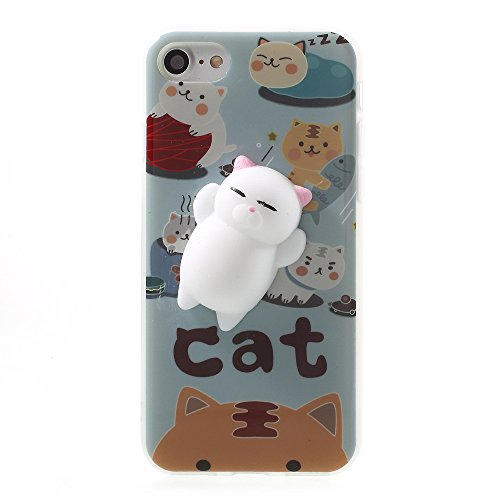 Price comparison product image Lemonda Fashion Super Cute 3D Protective Soft Silicone Pappy Squishy Cat TPU Back Phone Bag Case for iPhone 7 Best Gift for Girls Boys (Squishy Cat A)