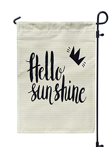 (Soopat Sunshine Seasonal Flag, Drawn Hello Sunshine Invitations Stickers Weatherproof Double Stitched Outdoor Decorative Flags for Garden Yard 12''L x 18''W Welcome Garden Flag)